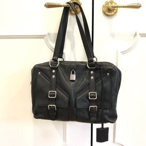 YSL Black Leather Buckle Handbag with Top Zipper